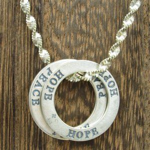 """18"""" Sterling Silver Peace & Hope Word Necklace"""